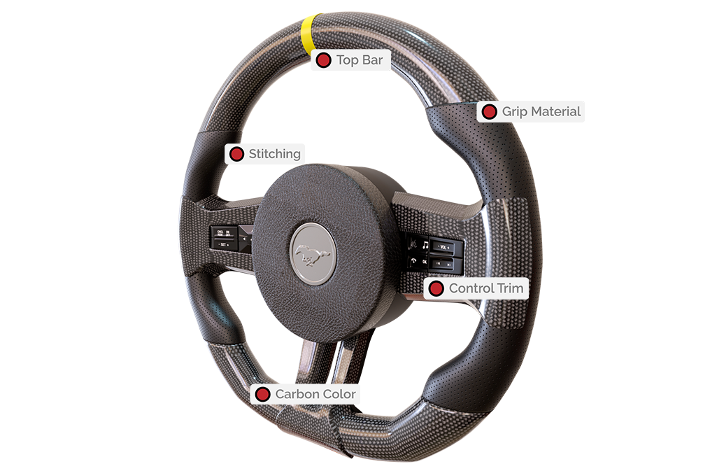 JATO Performance steeringwheelfeatures Custom 2005-2009 Mustang Carbon Steering Wheel